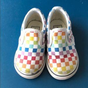 Vans multi colored slip-ons